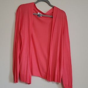 Lightweight Coral Open Front Cardigan L